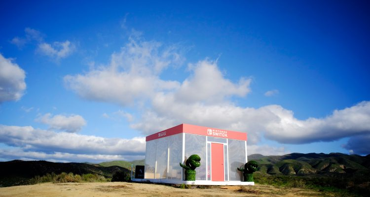 SANTA CLARITA, CA - FEBRUARY 23:  In this photo provided by Nintendo of America, the Nintendo Switch in Unexpected Places activation is set against the backdrop of the California desert on February 23, 2017 at Blue Cloud Movie Ranch in Santa Clarita, California.  (Photo by John Sciulli/Getty Images for Nintendo of America )